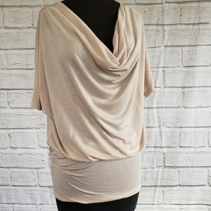 Trouve nude cowl neck lightweight shirt